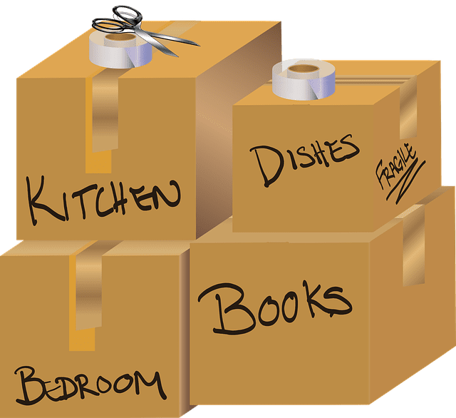 packing boxes for storing household possessions